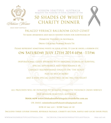 50 shades of White Charity Dinner Invitation